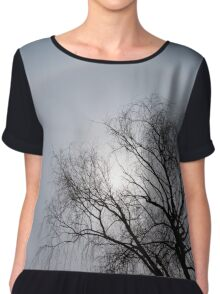 Sun Halo, Trees And Silver Gray Winter Sky Chiffon Top