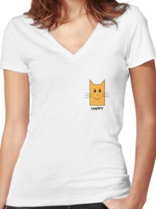 Happy cat Women's Fitted V-Neck T-Shirt