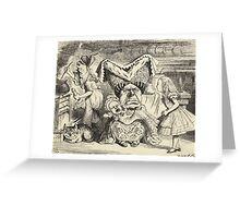 John Tenniel - The Duchess With Her Family, From  Alice S Adventures In Wonderland. Girl portrait: cute girl, girly, female, pretty angel, child, beautiful dress, smile, little, kids, baby Greeting Card