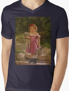 John George Brown - Going To The Spring 1865. Female child portrait: cute baby, kid, children, pretty angel, child, kids, lovely family, boys and girls, boy and girl, mom mum mammy mam, childhood Mens V-Neck T-Shirt