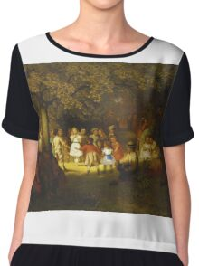 John George Brown - Picnic Party In The Woods. Female child portrait: cute baby, kid, children, pretty angel, child, kids, lovely family, boys and girls, boy and girl, mom mum mammy mam, childhood Chiffon Top