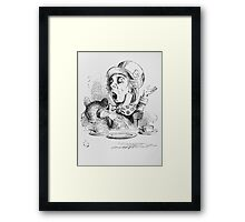 John Tenniel - The Mad Hatter S Tea Party, Illustration From  Alice In Wonderland. Picnic painting: picnic time, man woman, holiday, people, family, travel, garden, outdoor meal, eating food, picnic Framed Print