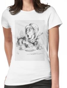 John Tenniel - The Mad Hatter S Tea Party, Illustration From  Alice In Wonderland. Picnic painting: picnic time, man woman, holiday, people, family, travel, garden, outdoor meal, eating food, picnic Womens Fitted T-Shirt