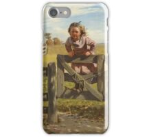 John George Brown - Swinging On A Gate. Female child portrait: cute girl, girly, female, pretty angel, child, beautiful dress, face with hairs, smile, little, kids, baby iPhone Case/Skin