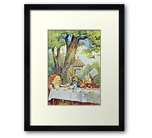 John Tenniel - Tea Party From  Alice S Adventures In Wonderland . Picnic painting: picnic time, holiday, people, family, travel, garden, outdoor meal, eating food, nautical panorama, picnic Framed Print