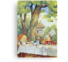 John Tenniel - Tea Party From  Alice S Adventures In Wonderland . Picnic painting: picnic time, holiday, people, family, travel, garden, outdoor meal, eating food, nautical panorama, picnic Canvas Print