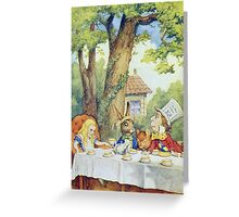 John Tenniel - Tea Party From  Alice S Adventures In Wonderland . Picnic painting: picnic time, holiday, people, family, travel, garden, outdoor meal, eating food, nautical panorama, picnic Greeting Card
