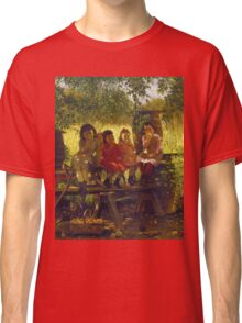 John George Brown - The Cider Mill. Female child portrait: cute girl, girly, female, pretty angel, child, beautiful dress, face with hairs, smile, little, kids, baby Classic T-Shirt
