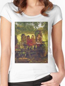 John George Brown - The Cider Mill. Female child portrait: cute girl, girly, female, pretty angel, child, beautiful dress, face with hairs, smile, little, kids, baby Women's Fitted Scoop T-Shirt