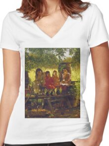 John George Brown - The Cider Mill. Female child portrait: cute girl, girly, female, pretty angel, child, beautiful dress, face with hairs, smile, little, kids, baby Women's Fitted V-Neck T-Shirt