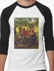 John George Brown - The Cider Mill. Female child portrait: cute girl, girly, female, pretty angel, child, beautiful dress, face with hairs, smile, little, kids, baby Men's Baseball ¾ T-Shirt