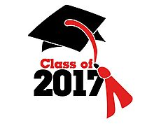Class of 2017 in red and black graduation cap Photographic Print