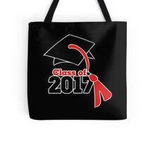 Class of 2017 in red and black graduation cap Tote Bag