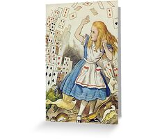 John Tenniel - The Shower Of Cards, Illustration From  Alice In Wonderland. Girl portrait: cute girl, girly, female, pretty angel, child, beautiful dress, face with hairs, smile, little, kids, baby Greeting Card