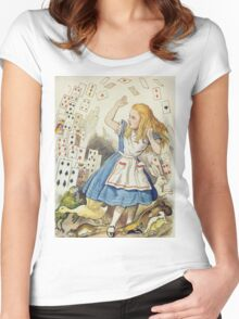 John Tenniel - The Shower Of Cards, Illustration From  Alice In Wonderland. Girl portrait: cute girl, girly, female, pretty angel, child, beautiful dress, face with hairs, smile, little, kids, baby Women's Fitted Scoop T-Shirt