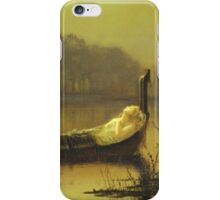 John Atkinson Grimshaw - The Lady Of Shalott. Lake landscape: trees, river, land, forest, coast seaside, waves and beach, marine naval navy, lagoon reflection, sun and clouds, nautical panorama, lake iPhone Case/Skin