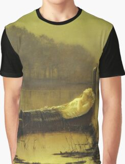 John Atkinson Grimshaw - The Lady Of Shalott. Lake landscape: trees, river, land, forest, coast seaside, waves and beach, marine naval navy, lagoon reflection, sun and clouds, nautical panorama, lake Graphic T-Shirt