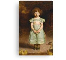John Everett Millais - Ducklings 1889. Female child portrait: cute girl, girly, female, pretty angel, child, beautiful dress, face with hairs, smile, little, kids, baby Canvas Print