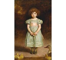 John Everett Millais - Ducklings 1889. Female child portrait: cute girl, girly, female, pretty angel, child, beautiful dress, face with hairs, smile, little, kids, baby Photographic Print