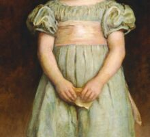 John Everett Millais - Ducklings 1889. Female child portrait: cute girl, girly, female, pretty angel, child, beautiful dress, face with hairs, smile, little, kids, baby Sticker
