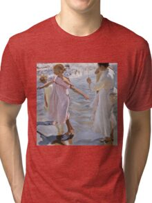 Joaquin Sorolla Y Bastida - Time For A Bathe, Valencia 1909. Mother with kid portrait: cute girl, mother and daughter, sea views, child, beautiful dress, lovely family, mothers day, memory,baby Tri-blend T-Shirt