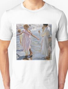 Joaquin Sorolla Y Bastida - Time For A Bathe, Valencia 1909. Mother with kid portrait: cute girl, mother and daughter, sea views, child, beautiful dress, lovely family, mothers day, memory,baby Unisex T-Shirt