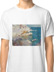 Joaquin Sorolla Y Bastida - Rocks At Javea. The White Boat 1905. Mountains landscape: mountains, rocks, rocky nature, sky and clouds, Sea views, peak, forest, rustic, hill, sea, hillside Classic T-Shirt