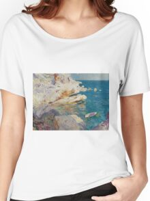 Joaquin Sorolla Y Bastida - Rocks At Javea. The White Boat 1905. Mountains landscape: mountains, rocks, rocky nature, sky and clouds, Sea views, peak, forest, rustic, hill, sea, hillside Women's Relaxed Fit T-Shirt