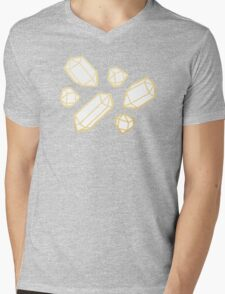 Gold and White Gemstone Pattern Mens V-Neck T-Shirt