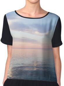 Silky Satin on the Lake - Blue and Pink Serenity  Chiffon Top