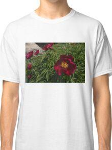 Deep Red Peony Garden Classic T-Shirt