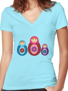 Matryoshka Dolls Women's Fitted V-Neck T-Shirt