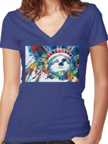 Colorful Statue Of Liberty - Sharon Cummings Women's Fitted V-Neck T-Shirt