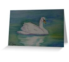 A Single Swan a Swimming WC151022-13 Greeting Card