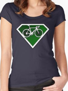 Super Green Cyclists Logo Women's Fitted Scoop T-Shirt