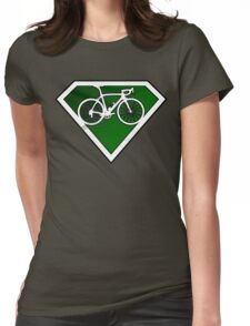 Super Green Cyclists Logo Womens Fitted T-Shirt