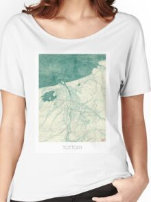 Tottori Map Blue Vintage Women's Relaxed Fit T-Shirt