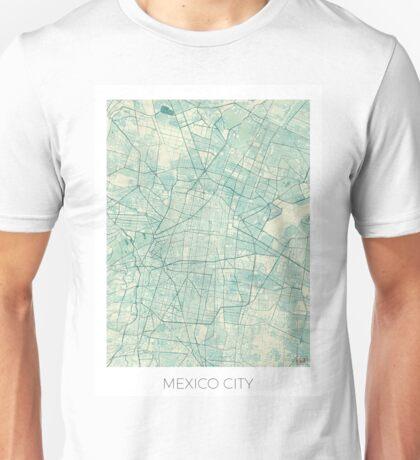 Mexico City Map Blue Vintage Unisex T-Shirt