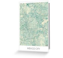 Mexico City Map Blue Vintage Greeting Card