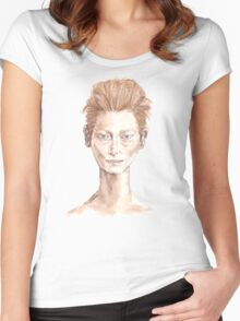 Tilda Red Head Face Portrait Drawing Women's Fitted Scoop T-Shirt