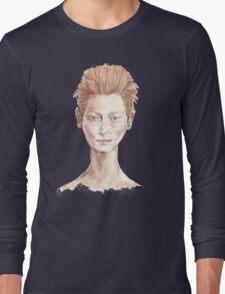Tilda Red Head Face Portrait Drawing Long Sleeve T-Shirt