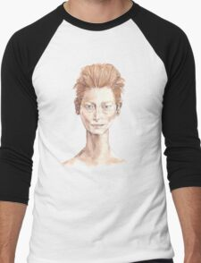 Tilda Red Head Face Portrait Drawing Men's Baseball ¾ T-Shirt