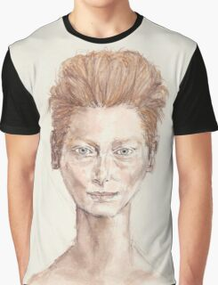 Tilda Red Head Face Portrait Drawing Graphic T-Shirt