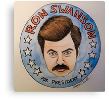 Ron Swanson for President Watercolor Canvas Print