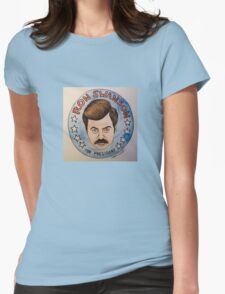 Ron Swanson for President Watercolor Womens Fitted T-Shirt