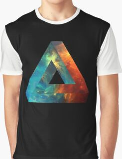 Abstract Geometry: Penrose Nebula (Fire Red/Orange/Blue) Graphic T-Shirt