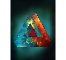 Abstract Geometry: Penrose Nebula (Fire Red/Orange/Blue) Photographic Print