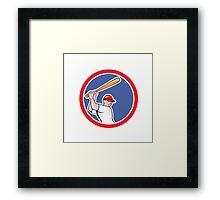 Baseball Player Batting Circle Cartoon Framed Print