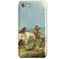 John Mix Stanley - Indians Playing Cards. People portrait: party, woman and man, people, family, female and male, peasants, crowd, romance, women and men, city, home society iPhone Case/Skin