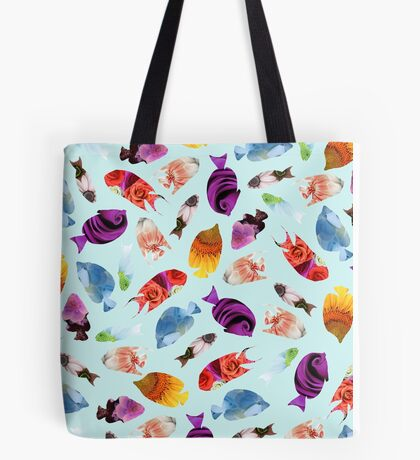 Fish shaped Flowers Tote Bag